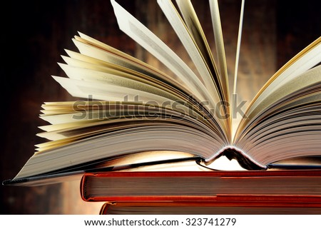Composition with hardcover books. Literature and education.