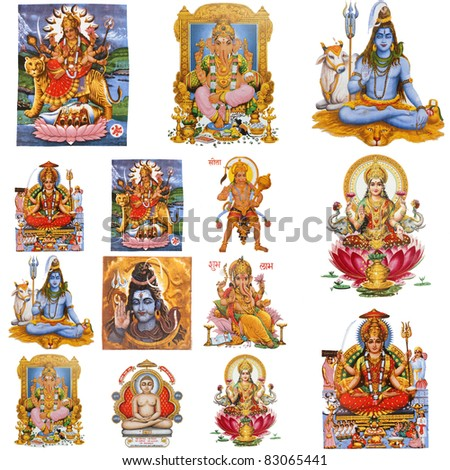 composition with  hindu gods isolated on white, India
