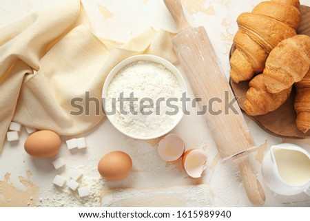 Composition with ingredients for bakery on table