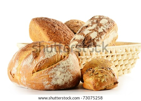 Composition with loaf of bread and rolls