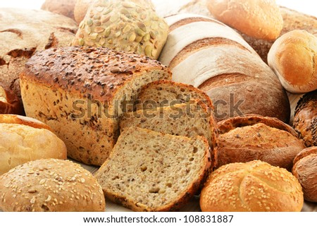 Composition with loafs of bread and rolls
