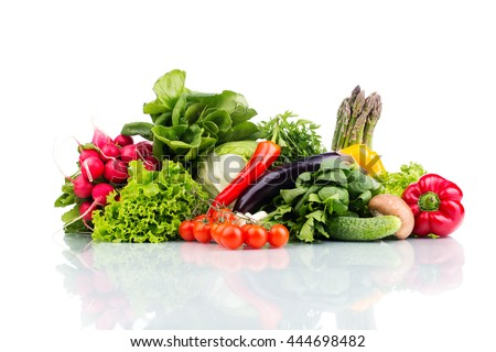 Composition with raw vegetables isolated on white #444698482