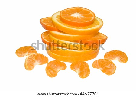 composition with slices of oranges and tangerines