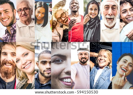Composition with smiling people. Collage with multiracial faces in different daily life situations
