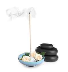 Composition with smoldering incense stick, roses and spa stones on white background