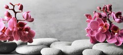 Composition with spa stones, orchid pink flowers on grey background. Spa concept.