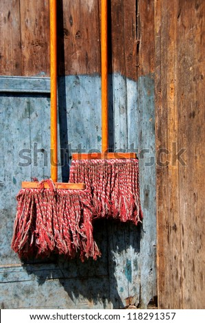 Composition with two brooms, China