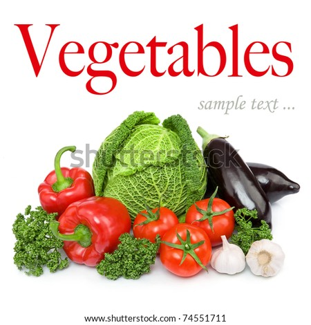 Composition with variety of fresh organic vegetables. Isolated over white background