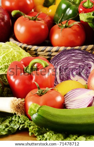 Composition with variety of fresh raw vegetables