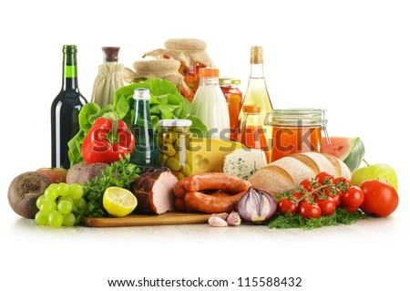 Composition with variety of grocery products including vegetables, fruits, meat, dairy and wine