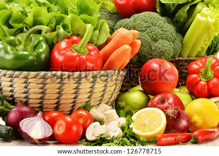 Composition with variety of raw vegetables. Vegetarian diet #126778715