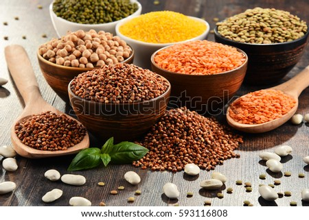 Composition with variety of vegetarian food ingredients. #593116808
