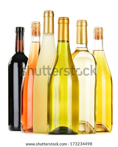 Composition with variety of wine bottles isolated on white #173234498