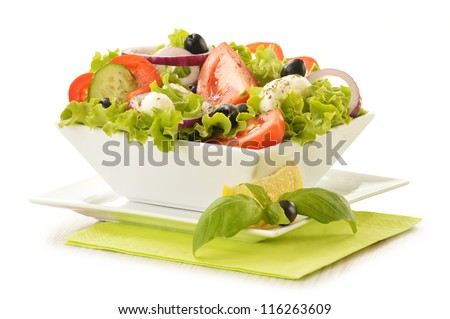 Composition with vegetable salad bowl isolated on white