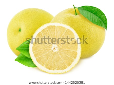 Composition with white grapefruits isolated on white background. With clipping path. ストックフォト ©