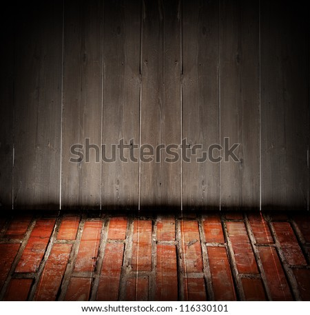 Composition with wooden wall  and  bricks floor.