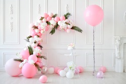 Compositions of balloons. Decorations for children birthday
