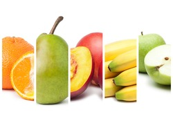 compositopn of different fruit over white background