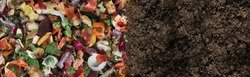 Compost and composted soil as a composting pile of rotting kitchen scraps with fruits and vegetable garbage waste turning into organic fertilizer earth as a composite.