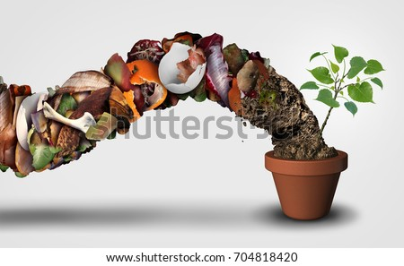 Compost and composting symbol life cycle symbol and an organic recycling stage system concept as a pile of rotting food scraps with a sapling growing in a pot with 3D illustration elements..
