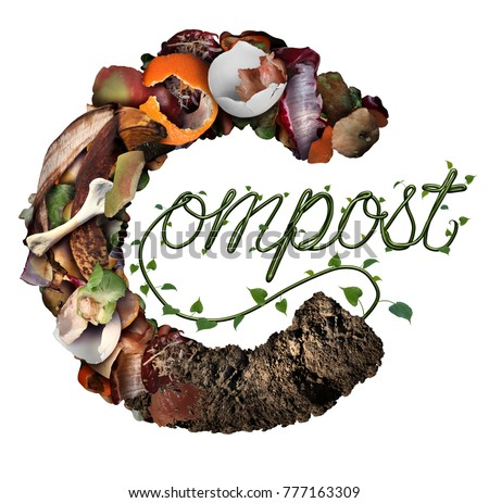 Compost concept and composting symbol life cycle and an organic recycling system as a pile of rotting food scraps with a sapling growing shaped as text in a 3D illustration style.