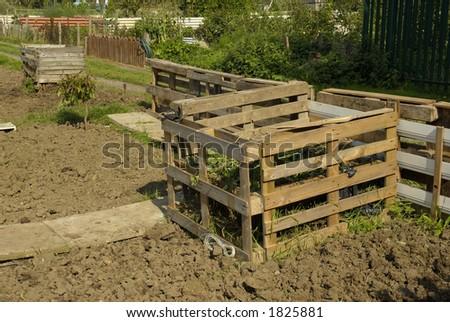 compost heap on allotment, UK.