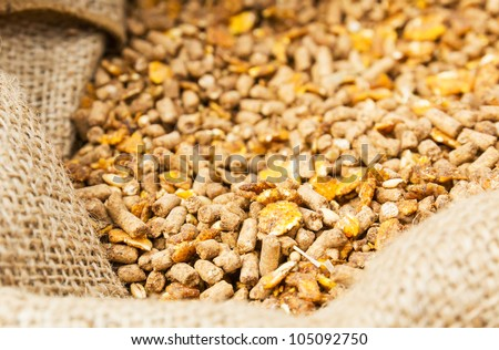 Compound Feed in sacks fodder for  the animals Stockfoto ©