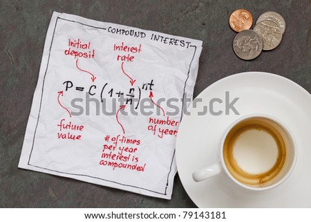 compound interest equation on a cocktail napkin with empty coffee cup and coins on a slate stone table