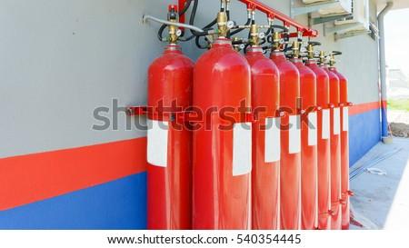 compressed gas (argon or carbon dioxide or oxygen) steel cylinders at substation