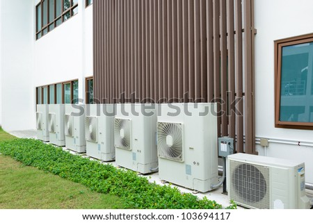 Compressor of air condition are set next to the building.