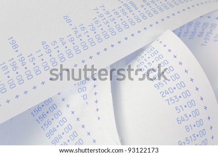computationally strips with numbers. symbol for costs, expenses, revenues and profits.