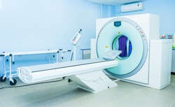 Computed tomography or computed axial tomography scan machine in hospital room