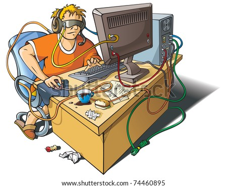 Computer addiction: young man immersed himself in virtual world, merged with computer, raster from vector illustration