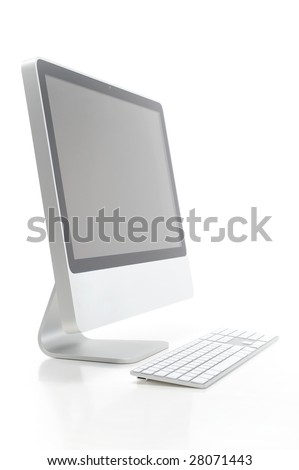computer against white background - stock photo