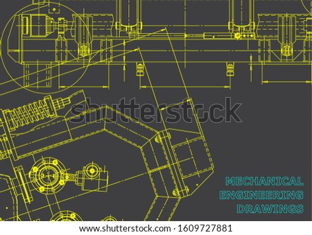 Computer aided design systems. Blueprint, scheme, plan, sketch. Technical illustrations, backgrounds. Mechanical. Gray