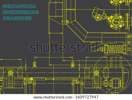 Computer aided design systems. Blueprint, scheme, plan, sketch. Technical illustrations, backgrounds. Mechanical engineering drawing. Machine-building industry. Gray