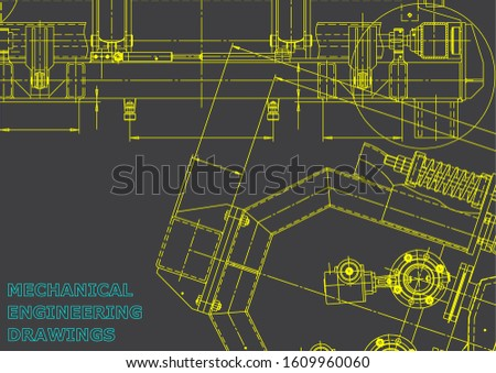 Computer aided design systems. Blueprint, scheme, plan, sketch. Technical illustrations, backgrounds. Gray