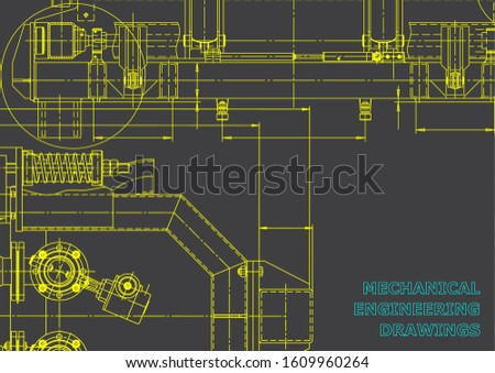 Computer aided design systems. Blueprint, scheme, plan, sketch. Technical illustrations, backgrounds. Mechanical engineering drawing. Industry. Gray