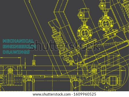Computer aided design systems. Blueprint, scheme, plan, sketch. Technical illustrations, backgrounds. Mechanical engineering drawing. Machine-building industry. Instrument-making drawings. Gray
