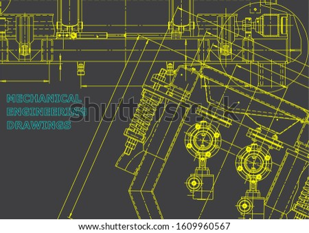 Computer aided design systems. Blueprint, scheme, plan, sketch. Technical illustrations, backgrounds. Mechanical engineering drawing. Machine-building industry. Instrument-making. Gray