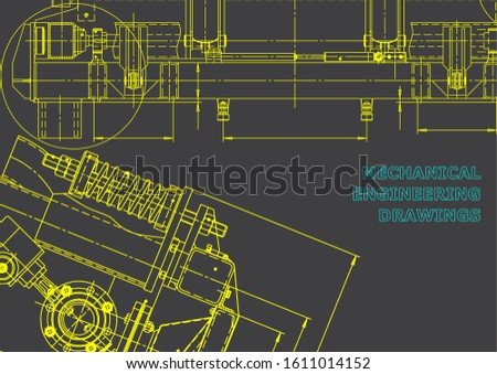 Computer aided design systems. Technical illustrations, background. Gray