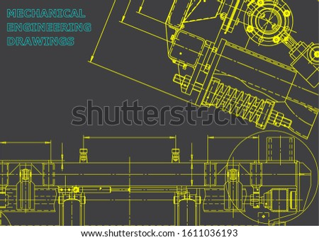 Computer aided design systems. Technical illustrations, background. Mechanical. Gray
