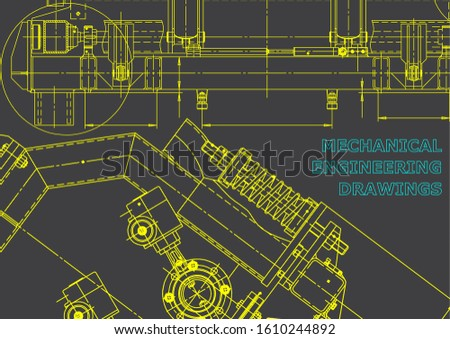 Computer aided design systems. Technical illustrations, backgrounds. Mechanical engineering drawing. Machine-building industry. Gray