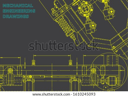 Computer aided design systems. Technical illustrations, backgrounds. Mechanical engineering drawing. Machine-building industry. Instrument-making drawings. Blueprint. Gray