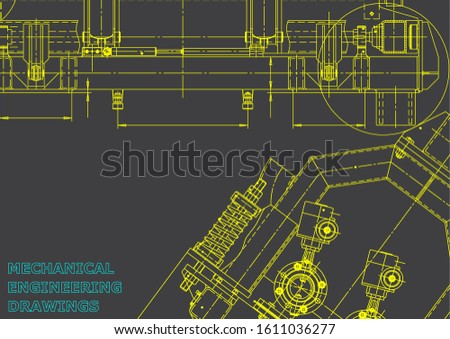 Computer aided design systems. Technical illustrations, backgrounds. Mechanical engineering drawing. Machine-building industry. Instrument-making drawing. Gray