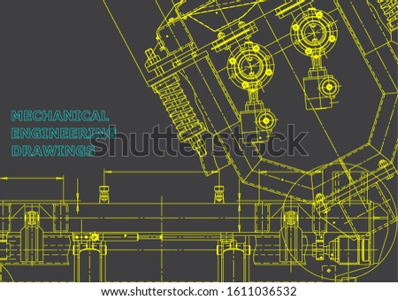 Computer aided design systems. Technical illustrations, backgrounds. Mechanical engineering drawing. Machine-building industry. Instrument-making drawings. Blueprint, diagram, plan, sketch. Gray