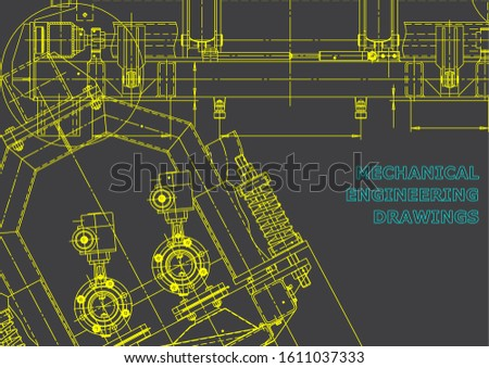 Computer aided design systems. Technical illustrations, backgrounds. Mechanical engineering drawing. Machine-building industry. Instrument-making drawings. Blueprint, diagram, plan. Gray