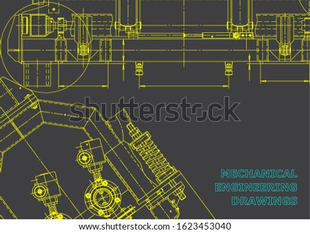 Computer aided design systems. Technical illustrations, backgrounds. Mechanical engineering drawing. Machine-building industry. Instrument-making drawings. Gray