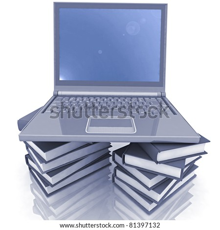 computer and books on the white background
