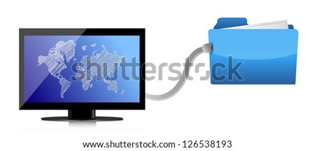 Computer and folder network illustration design over a white background